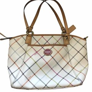 Coach Peyton Tattersall Tote Handbag M1281-F21924